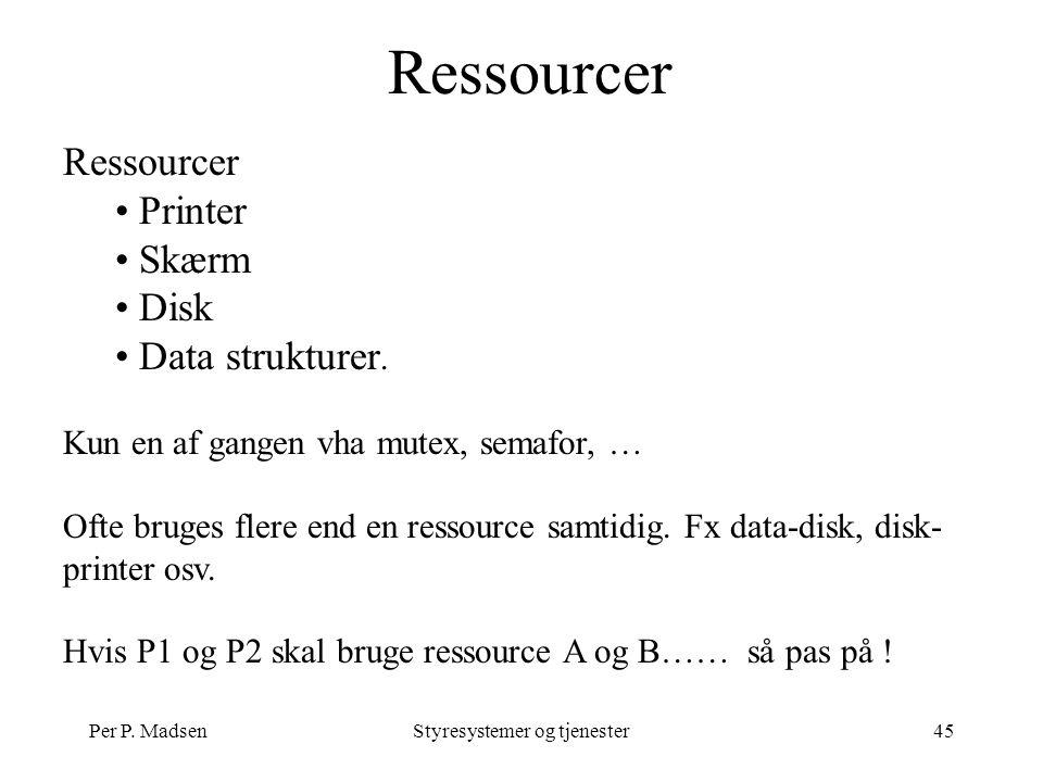 Per P. MadsenStyresystemer og tjenester45 Ressourcer Printer Skærm Disk Data strukturer.