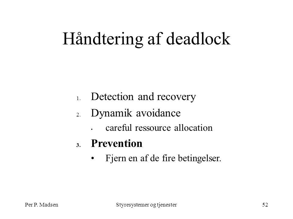 Per P. MadsenStyresystemer og tjenester52 Håndtering af deadlock 1.