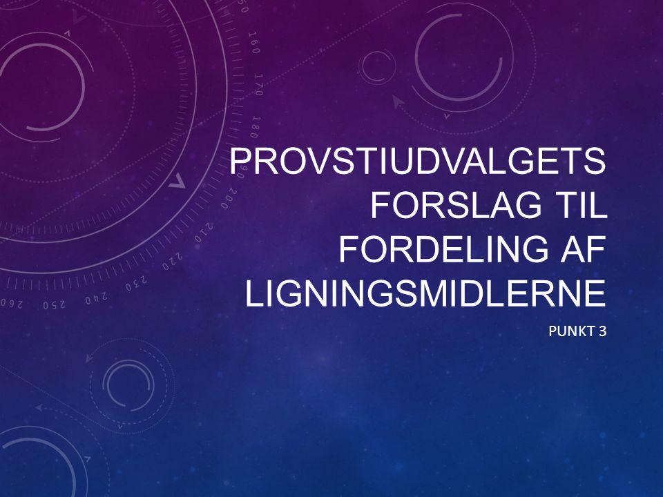 PROVSTIUDVALGETS FORSLAG TIL FORDELING AF LIGNINGSMIDLERNE PUNKT 3