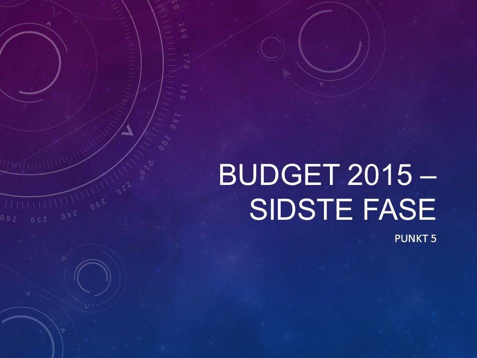 BUDGET 2015 – SIDSTE FASE PUNKT 5