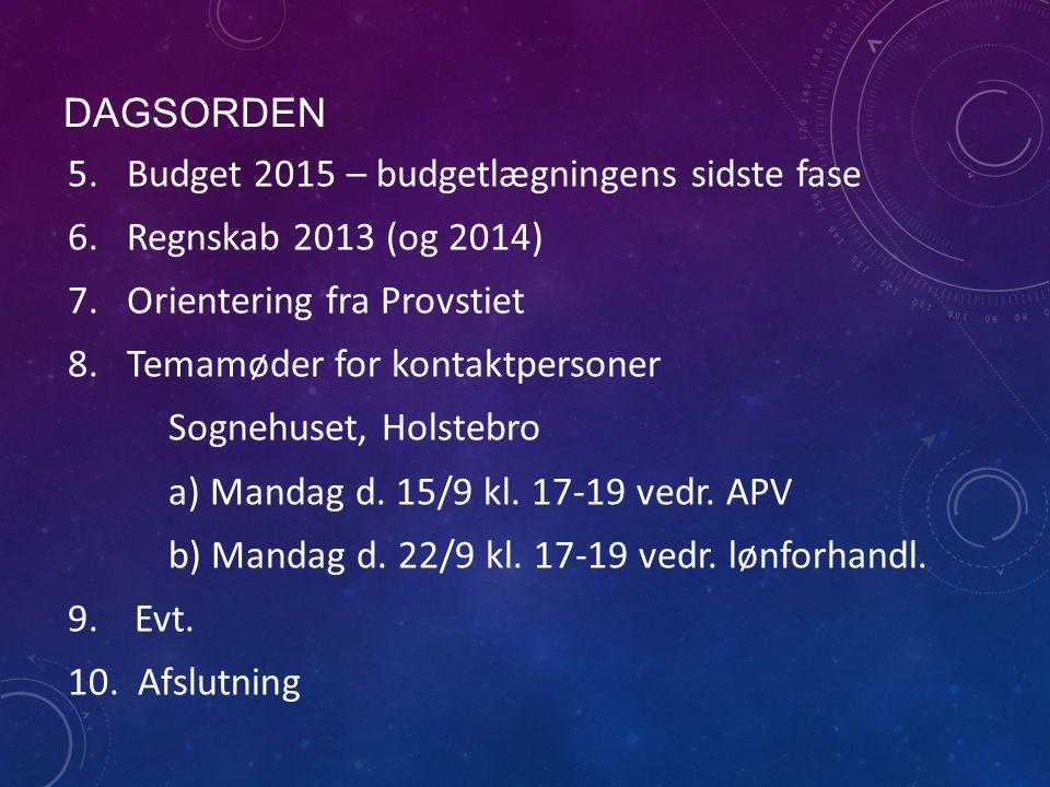 DAGSORDEN 5.Budget 2015 – budgetlægningens sidste fase 6.Regnskab 2013 (og 2014) 7.Orientering fra Provstiet 8.Temamøder for kontaktpersoner Sognehuset, Holstebro a) Mandag d.