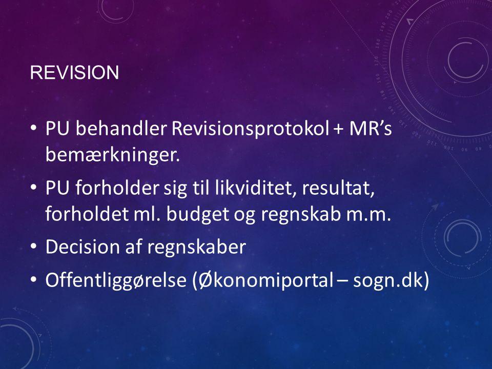 REVISION PU behandler Revisionsprotokol + MR's bemærkninger.