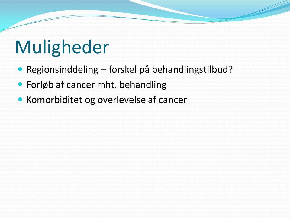Muligheder Regionsinddeling – forskel på behandlingstilbud.