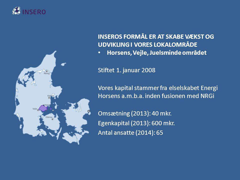 INSEROS FORMÅL ER AT SKABE VÆKST OG UDVIKLING I VORES LOKALOMRÅDE Horsens, Vejle, Juelsminde området Stiftet 1.