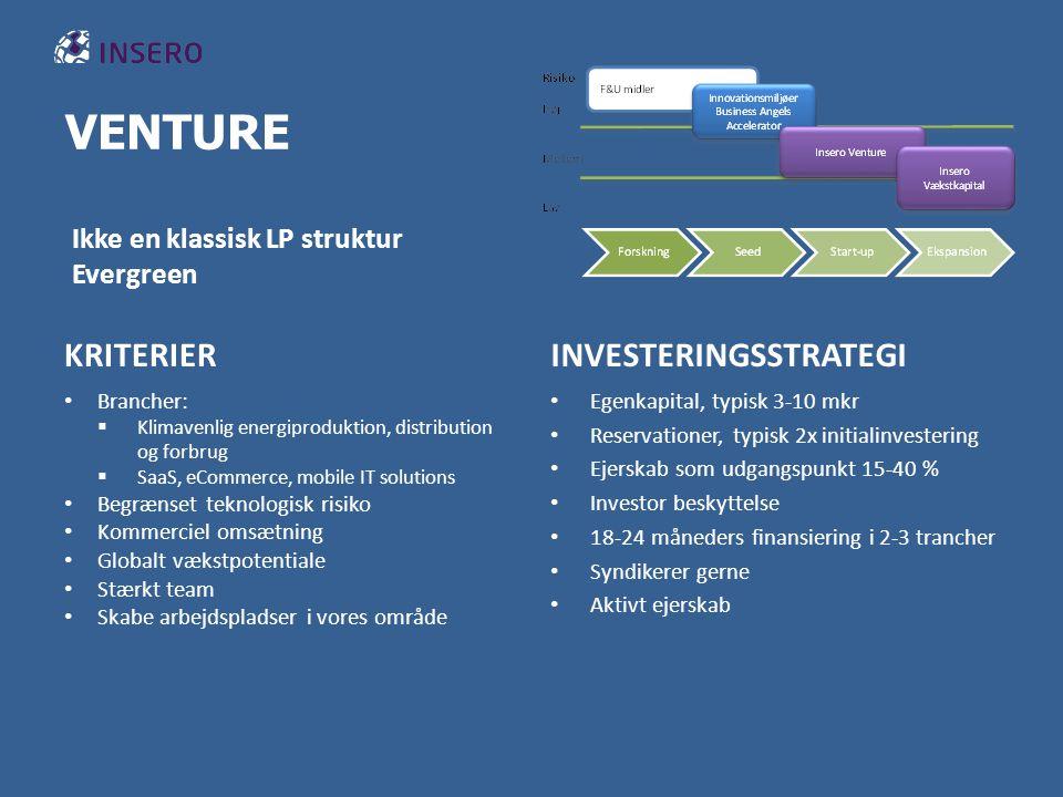 VENTURE KRITERIER Brancher:  Klimavenlig energiproduktion, distribution og forbrug  SaaS, eCommerce, mobile IT solutions Begrænset teknologisk risiko Kommerciel omsætning Globalt vækstpotentiale Stærkt team Skabe arbejdspladser i vores område INVESTERINGSSTRATEGI Egenkapital, typisk 3-10 mkr Reservationer, typisk 2x initialinvestering Ejerskab som udgangspunkt 15-40 % Investor beskyttelse 18-24 måneders finansiering i 2-3 trancher Syndikerer gerne Aktivt ejerskab Ikke en klassisk LP struktur Evergreen