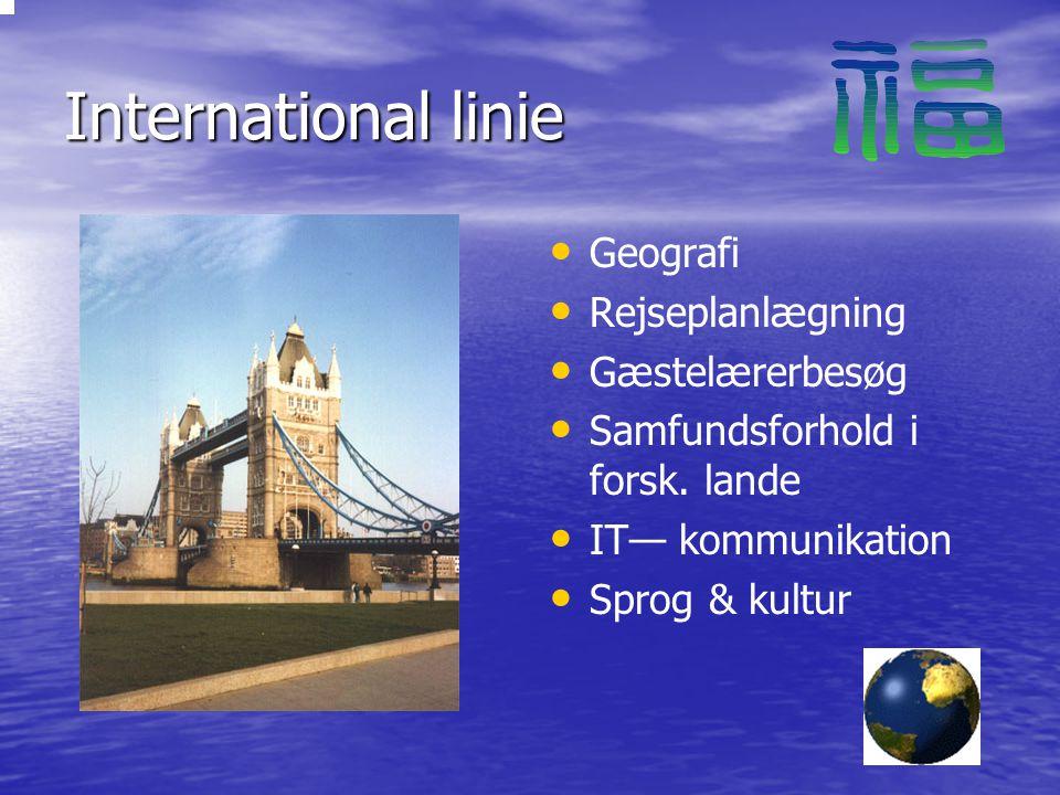 International linie Geografi Rejseplanlægning Gæstelærerbesøg Samfundsforhold i forsk.