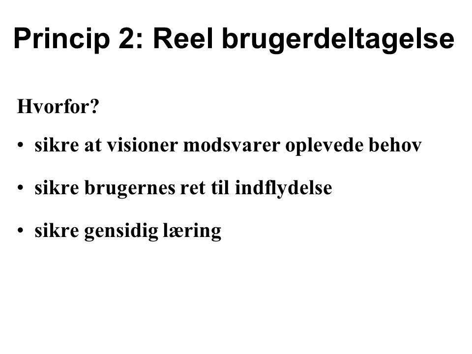 Princip 2: Reel brugerdeltagelse Hvorfor.