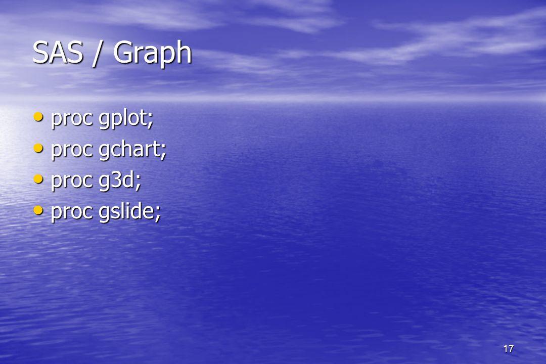 17 SAS / Graph proc gplot; proc gplot; proc gchart; proc gchart; proc g3d; proc g3d; proc gslide; proc gslide;