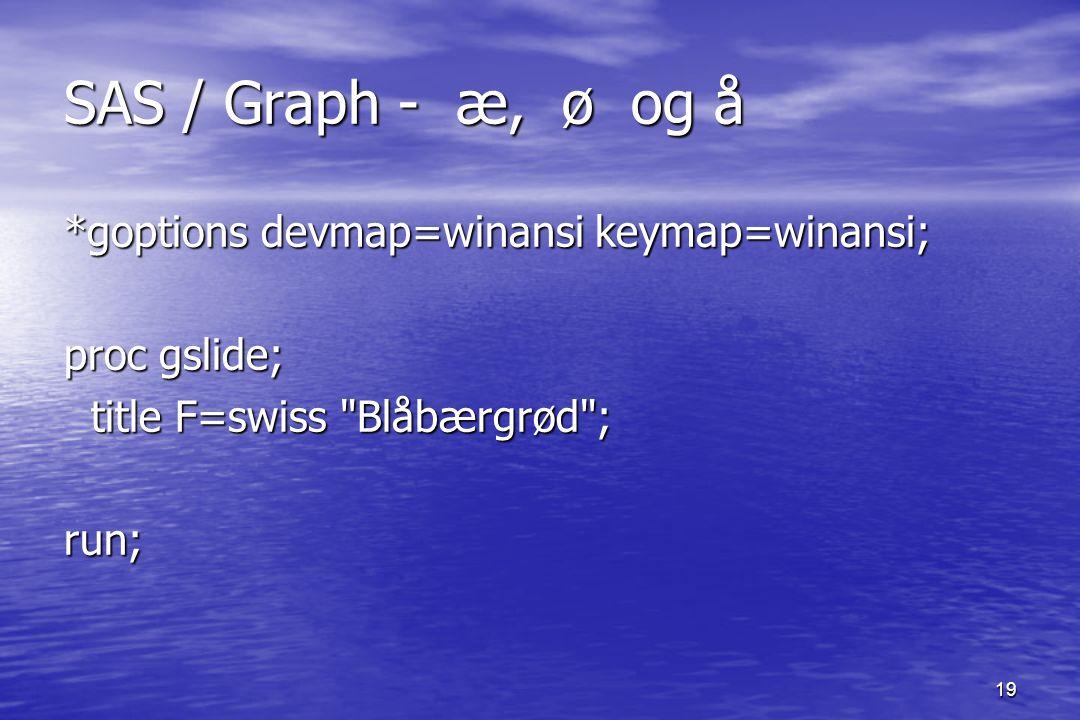 19 SAS / Graph - æ, ø og å *goptions devmap=winansi keymap=winansi; proc gslide; title F=swiss Blåbærgrød ; title F=swiss Blåbærgrød ;run;