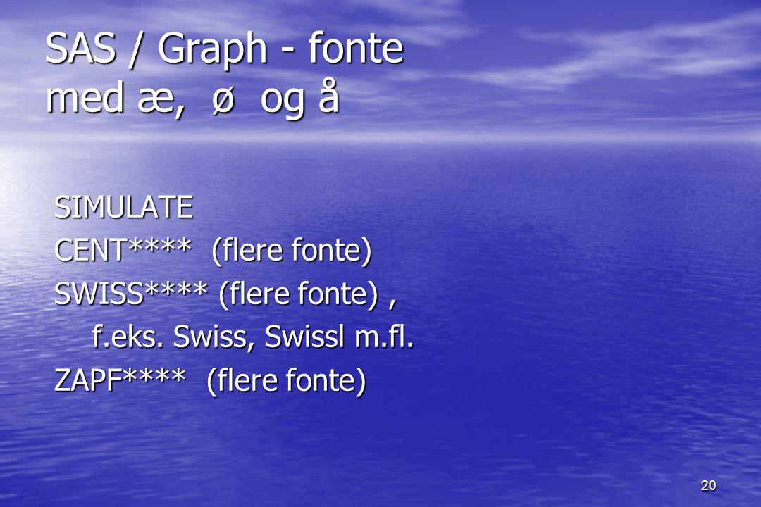 20 SAS / Graph - fonte med æ, ø og å SIMULATE SIMULATE CENT**** (flere fonte) CENT**** (flere fonte) SWISS**** (flere fonte), SWISS**** (flere fonte), f.eks.