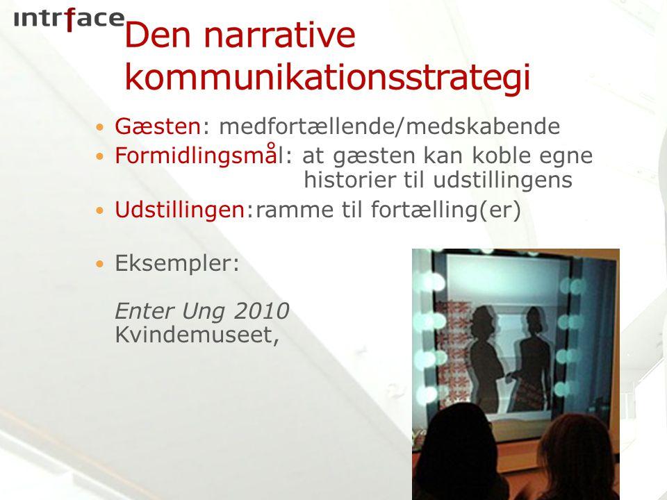 Gæsten: medfortællende/medskabende Formidlingsmål: at gæsten kan koble egne historier til udstillingens Udstillingen:ramme til fortælling(er) Eksempler: Enter Ung 2010 Kvindemuseet,