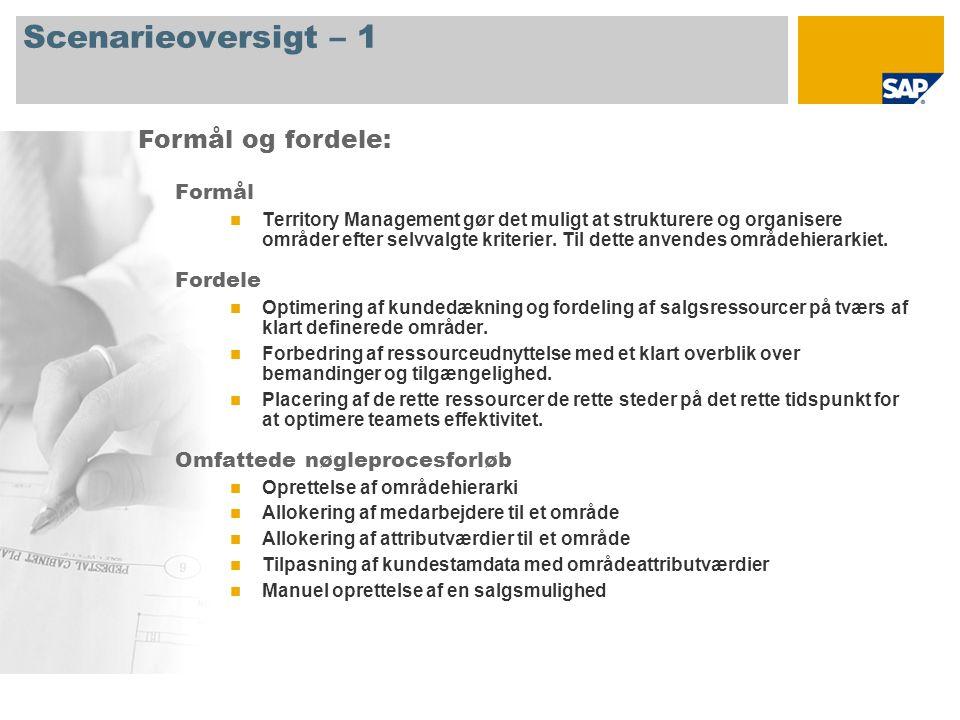Scenarieoversigt – 1 Formål Territory Management gør det muligt at strukturere og organisere områder efter selvvalgte kriterier.