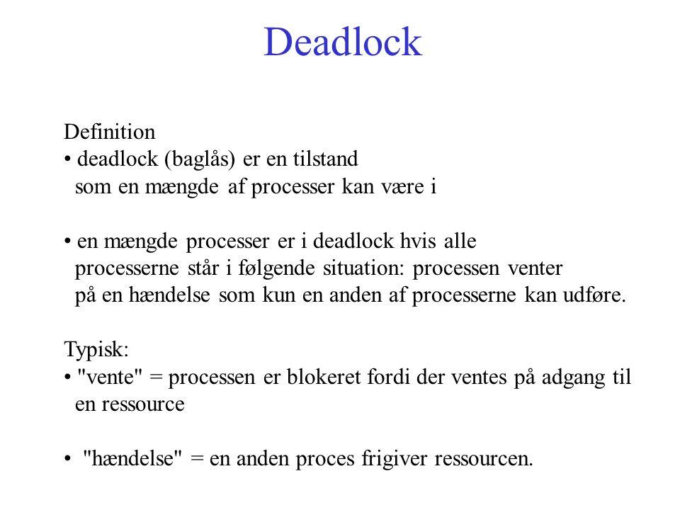 Deadlock Definition deadlock (baglås) er en tilstand som en mængde af processer kan være i en mængde processer er i deadlock hvis alle processerne står i følgende situation: processen venter på en hændelse som kun en anden af processerne kan udføre.