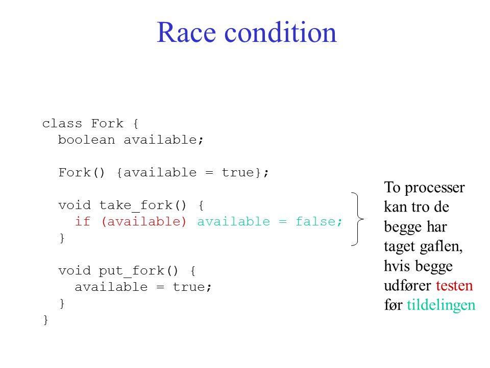 Race condition class Fork { boolean available; Fork() {available = true}; void take_fork() { if (available) available = false; } void put_fork() { available = true; } To processer kan tro de begge har taget gaflen, hvis begge udfører testen før tildelingen