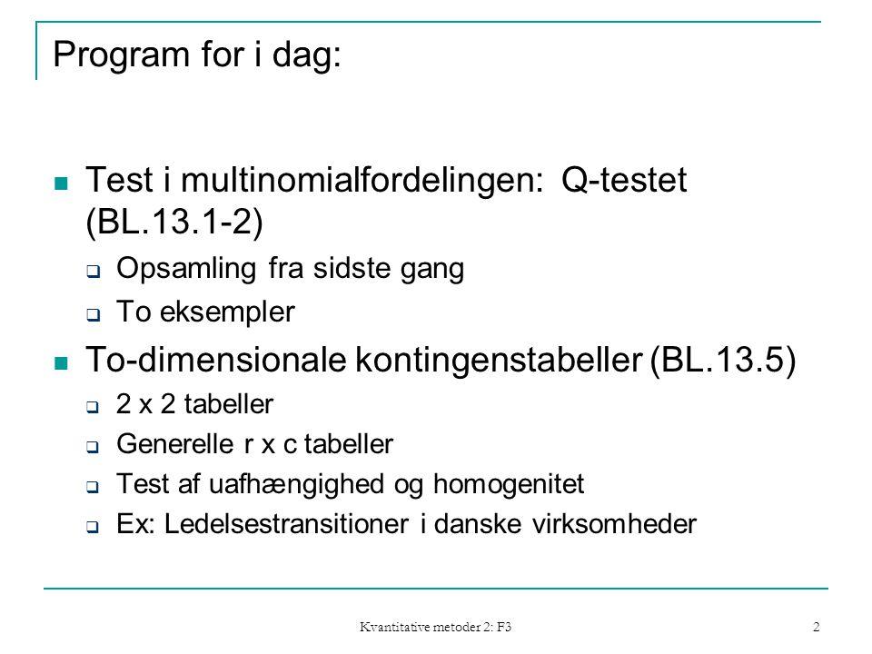 Kvantitative metoder 2: F3 2 Program for i dag: Test i multinomialfordelingen: Q-testet (BL.13.1-2)  Opsamling fra sidste gang  To eksempler To-dimensionale kontingenstabeller (BL.13.5)  2 x 2 tabeller  Generelle r x c tabeller  Test af uafhængighed og homogenitet  Ex: Ledelsestransitioner i danske virksomheder