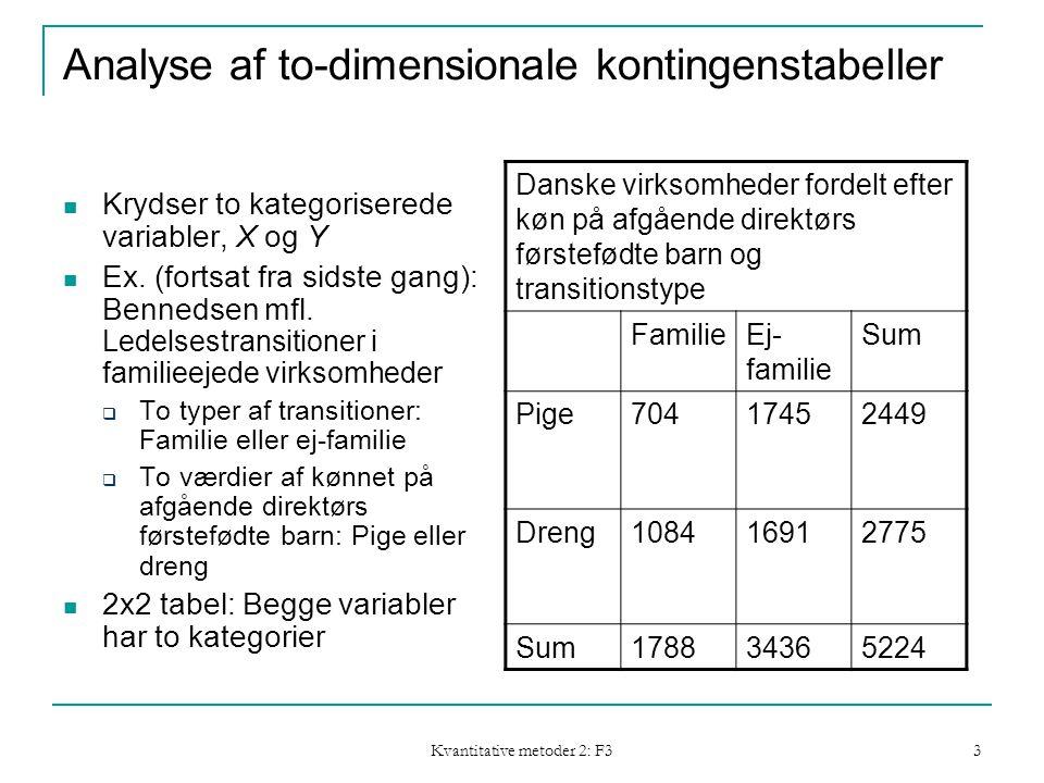 Kvantitative metoder 2: F3 3 Analyse af to-dimensionale kontingenstabeller Krydser to kategoriserede variabler, X og Y Ex.