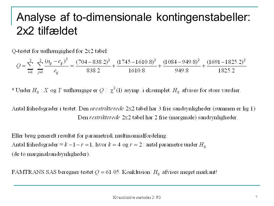 Kvantitative metoder 2: F3 7 Analyse af to-dimensionale kontingenstabeller: 2x2 tilfældet