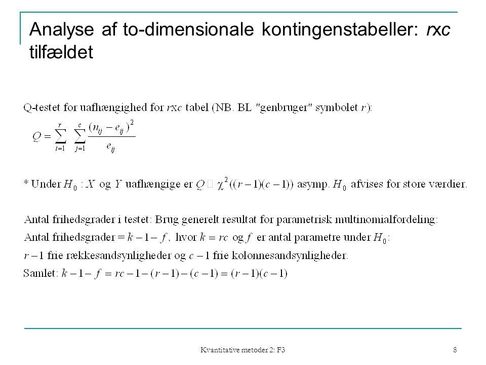 Kvantitative metoder 2: F3 8 Analyse af to-dimensionale kontingenstabeller: rxc tilfældet
