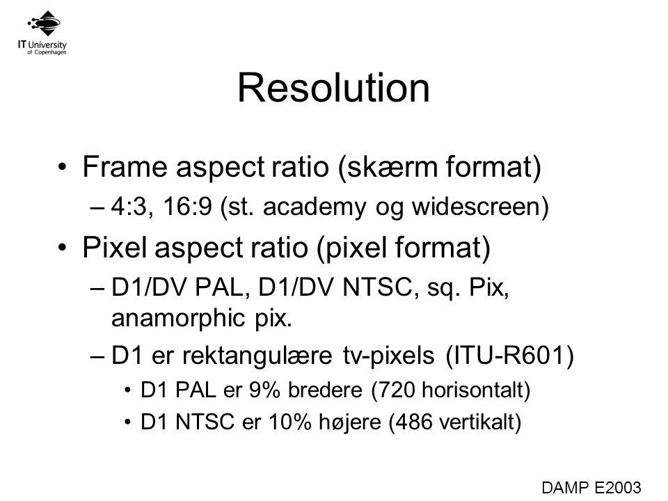 DAMP E2003 Resolution Frame aspect ratio (skærm format) –4:3, 16:9 (st.