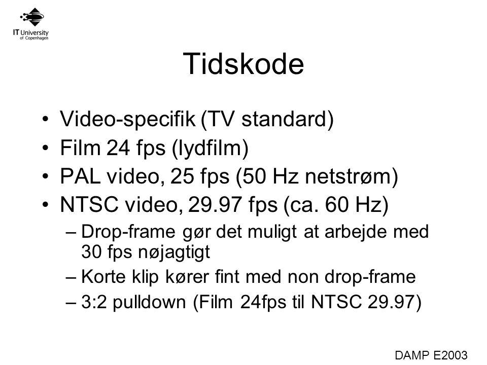 DAMP E2003 Tidskode Video-specifik (TV standard) Film 24 fps (lydfilm) PAL video, 25 fps (50 Hz netstrøm) NTSC video, 29.97 fps (ca.
