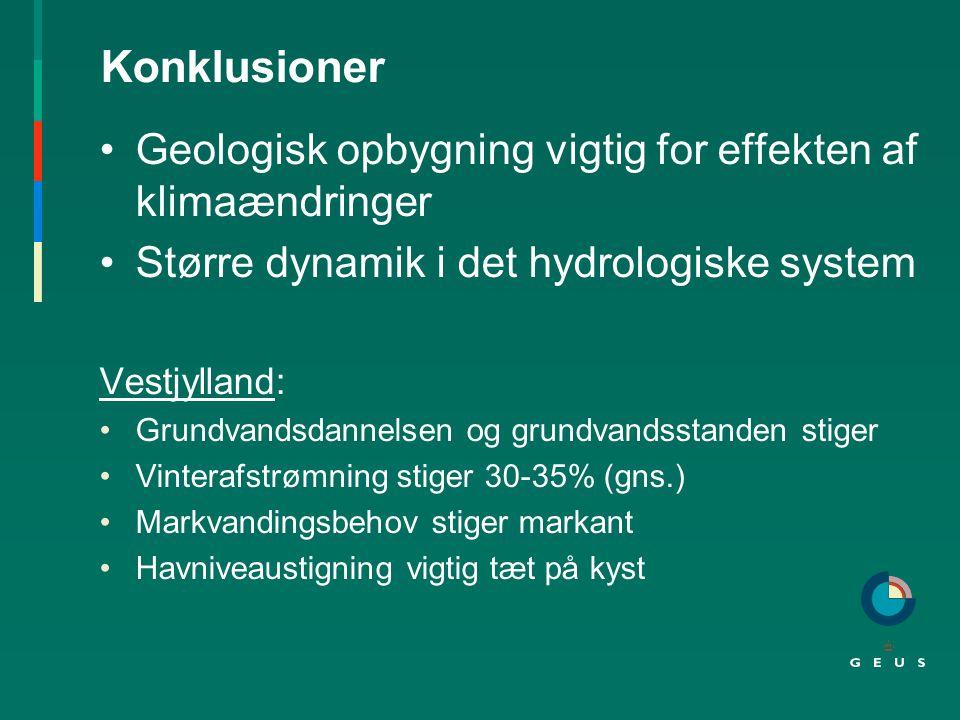 Konklusioner Geologisk opbygning vigtig for effekten af klimaændringer Større dynamik i det hydrologiske system Vestjylland: Grundvandsdannelsen og grundvandsstanden stiger Vinterafstrømning stiger 30-35% (gns.) Markvandingsbehov stiger markant Havniveaustigning vigtig tæt på kyst