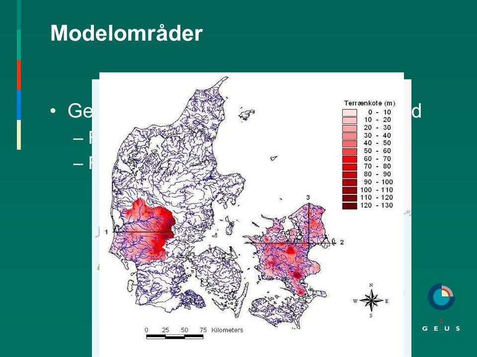 Modelområder Gennemført i Vestjylland og på Sjælland –Forskel i nuværende klima –Forskel i geologi