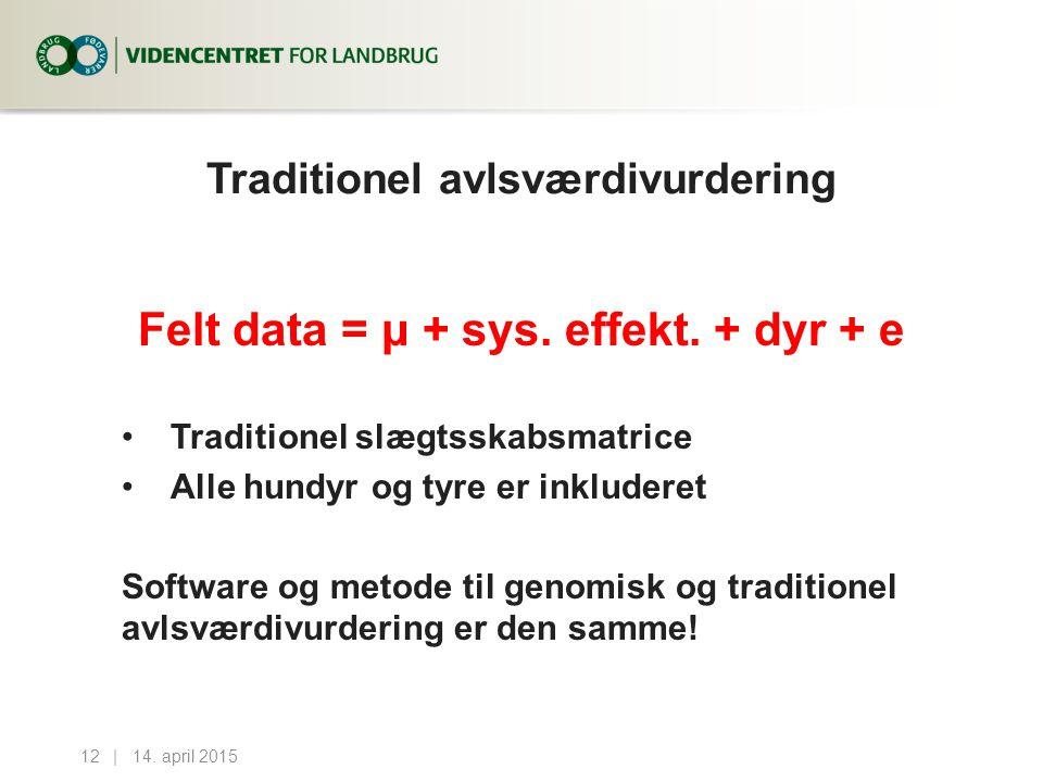 Traditionel avlsværdivurdering Felt data = μ + sys.
