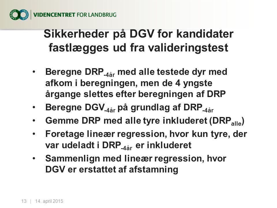 Sikkerheder på DGV for kandidater fastlægges ud fra valideringstest Beregne DRP -4år med alle testede dyr med afkom i beregningen, men de 4 yngste årgange slettes efter beregningen af DRP Beregne DGV -4år på grundlag af DRP -4år Gemme DRP med alle tyre inkluderet (DRP alle ) Foretage lineær regression, hvor kun tyre, der var udeladt i DRP -4år er inkluderet Sammenlign med lineær regression, hvor DGV er erstattet af afstamning 14.