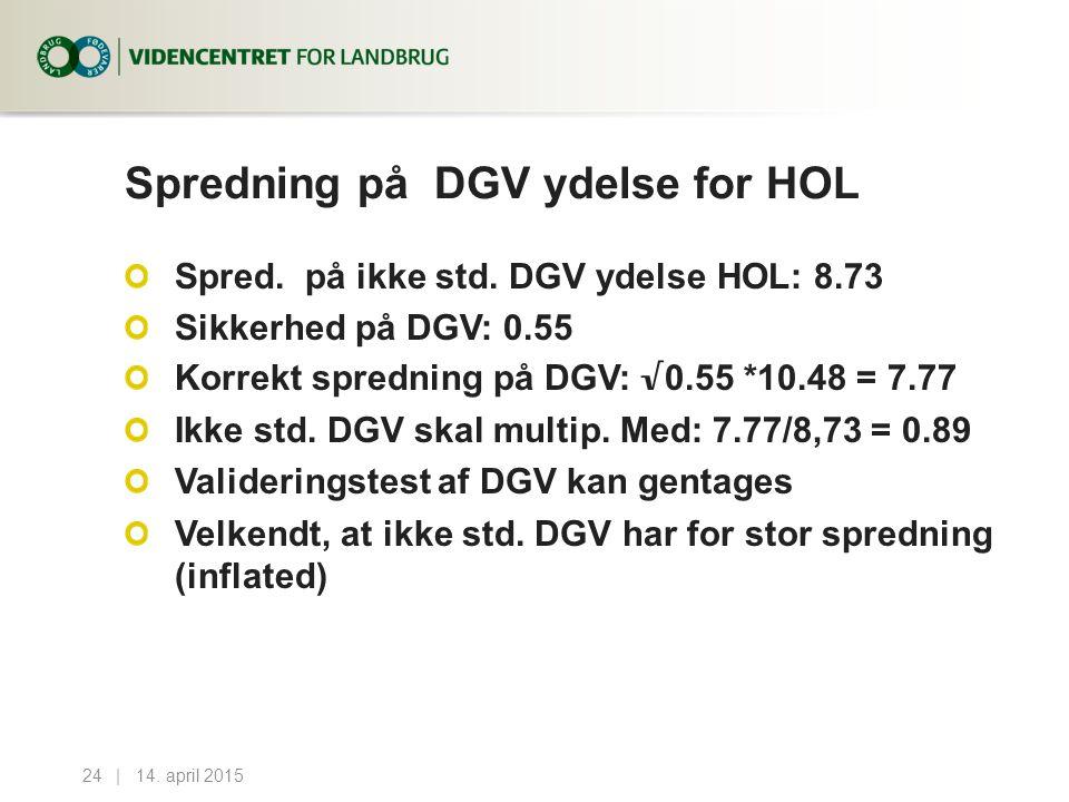 Spredning på DGV ydelse for HOL Spred. på ikke std.