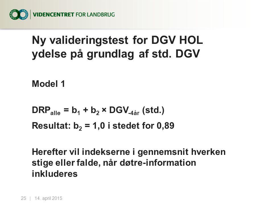 Ny valideringstest for DGV HOL ydelse på grundlag af std.