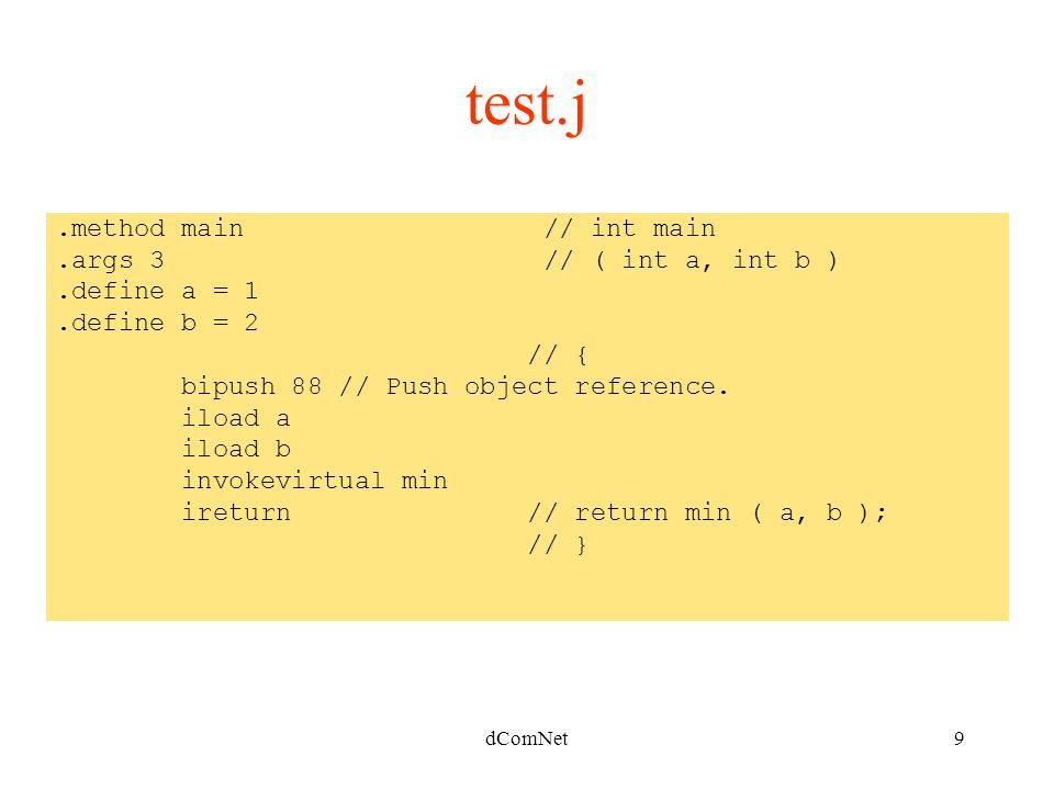 dComNet9.method main // int main.args 3 // ( int a, int b ).define a = 1.define b = 2 // { bipush 88 // Push object reference.