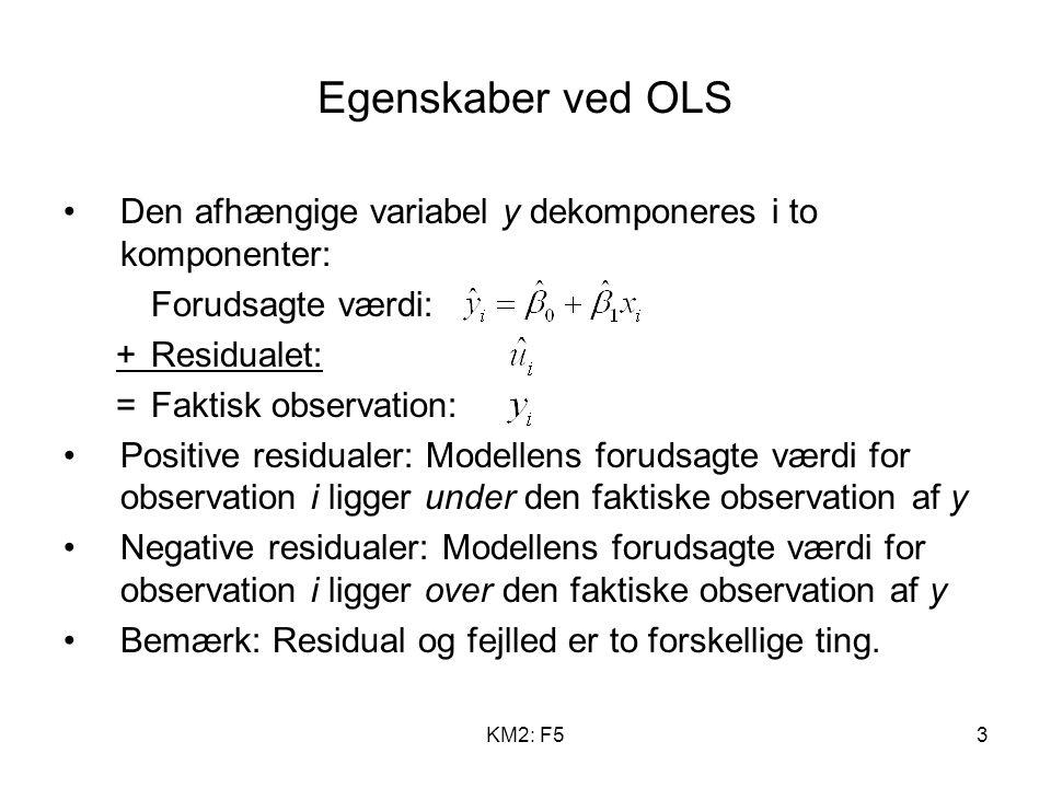 KM2: F53 Egenskaber ved OLS Den afhængige variabel y dekomponeres i to komponenter: Forudsagte værdi: +Residualet: =Faktisk observation: Positive residualer: Modellens forudsagte værdi for observation i ligger under den faktiske observation af y Negative residualer: Modellens forudsagte værdi for observation i ligger over den faktiske observation af y Bemærk: Residual og fejlled er to forskellige ting.