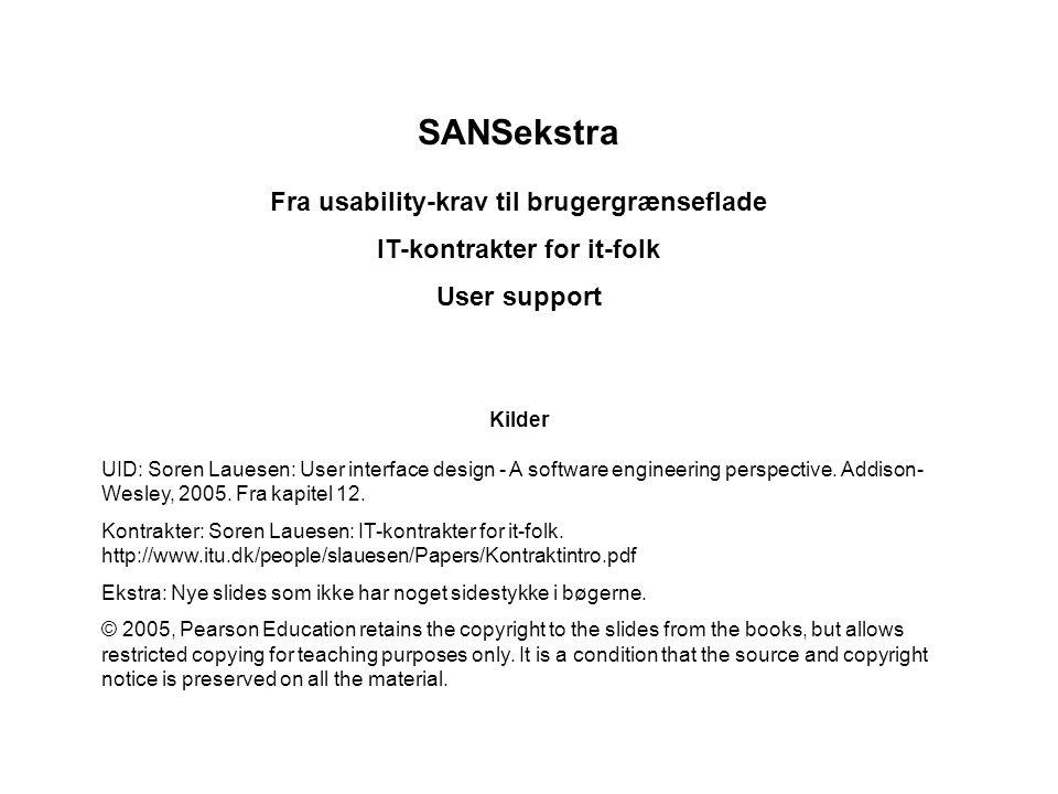 SANSekstra Fra usability-krav til brugergrænseflade IT-kontrakter for it-folk User support Kilder UID: Soren Lauesen: User interface design - A software engineering perspective.