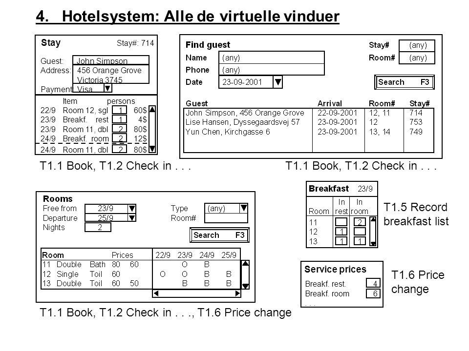 4. Hotelsystem: Alle de virtuelle vinduer Service prices Breakf.