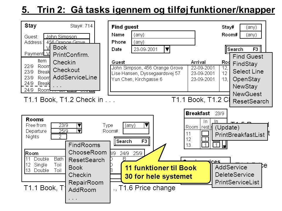5. Trin 2: Gå tasks igennem og tilføj funktioner/knapper Service prices Breakf.