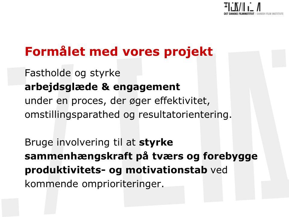 Formålet med vores projekt Fastholde og styrke arbejdsglæde & engagement under en proces, der øger effektivitet, omstillingsparathed og resultatorientering.