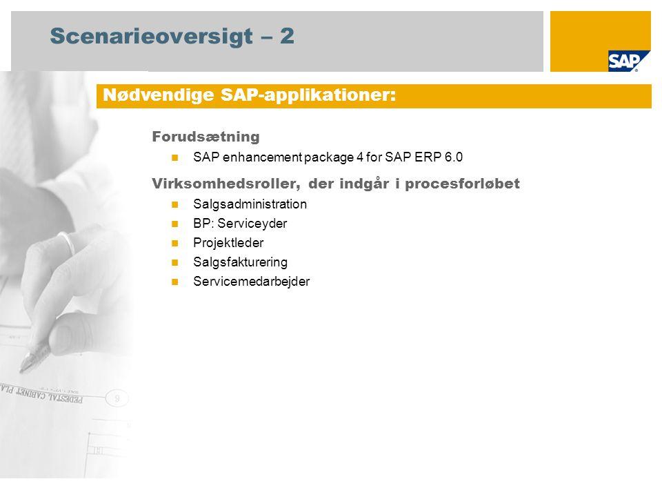 Scenarieoversigt – 2 Forudsætning SAP enhancement package 4 for SAP ERP 6.0 Virksomhedsroller, der indgår i procesforløbet Salgsadministration BP: Serviceyder Projektleder Salgsfakturering Servicemedarbejder Nødvendige SAP-applikationer: