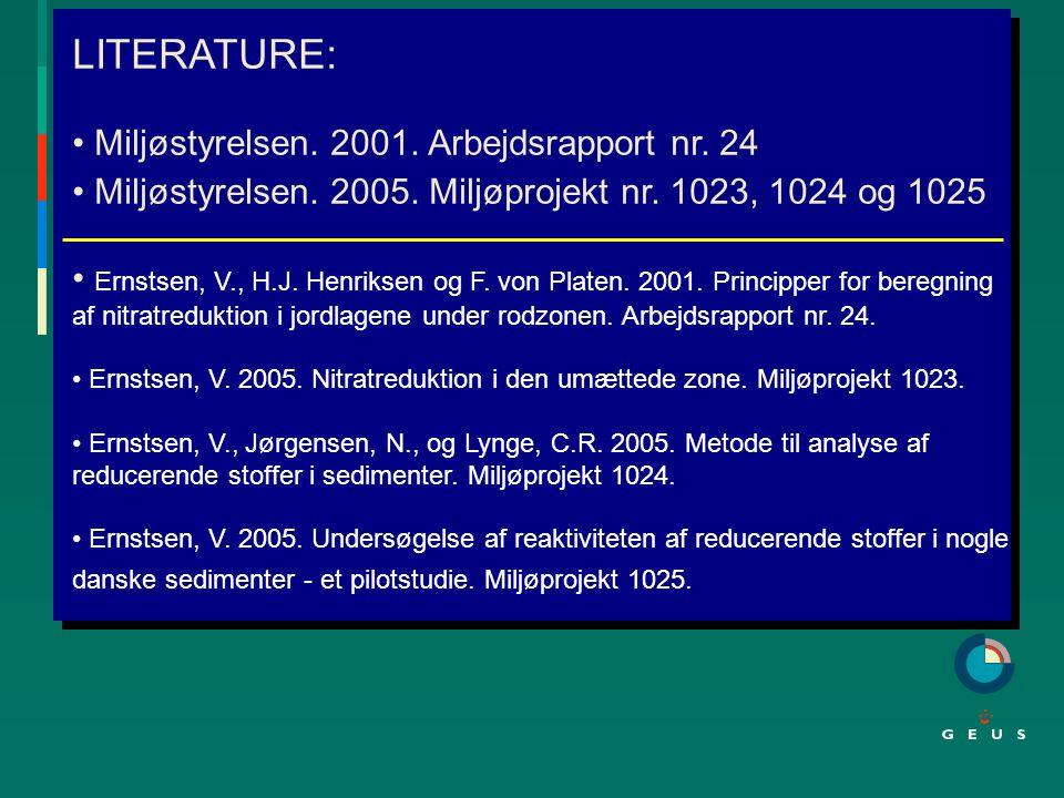 LITERATURE: Miljøstyrelsen. 2001. Arbejdsrapport nr.