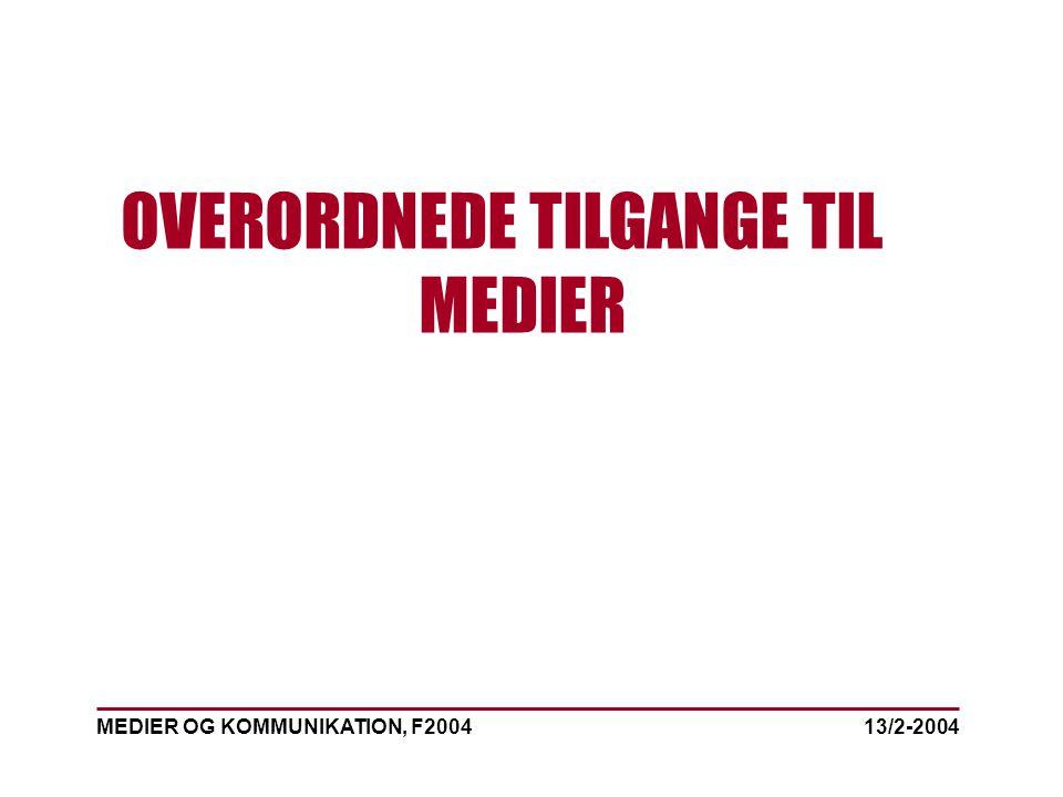 MEDIER OG KOMMUNIKATION, F2004 OVERORDNEDE TILGANGE TIL MEDIER 13/2-2004