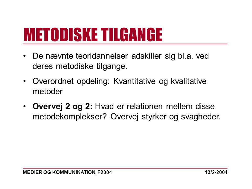 MEDIER OG KOMMUNIKATION, F2004 METODISKE TILGANGE 13/2-2004 De nævnte teoridannelser adskiller sig bl.a.