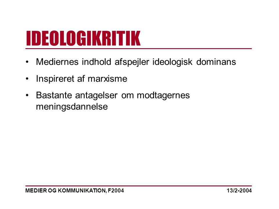 MEDIER OG KOMMUNIKATION, F2004 IDEOLOGIKRITIK 13/2-2004 Mediernes indhold afspejler ideologisk dominans Inspireret af marxisme Bastante antagelser om modtagernes meningsdannelse