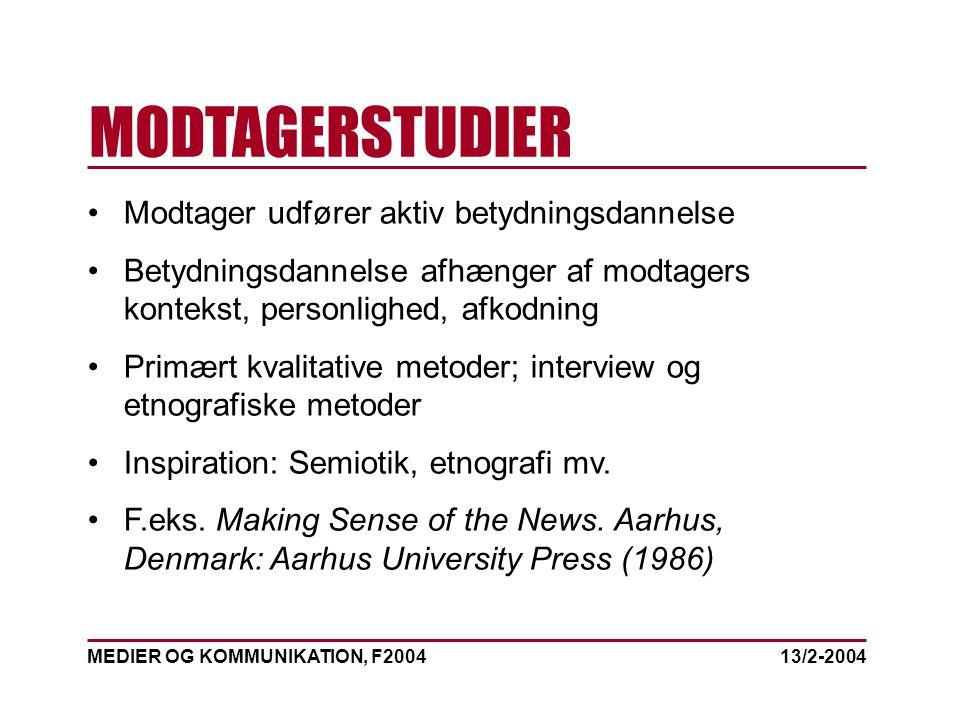 MEDIER OG KOMMUNIKATION, F2004 MODTAGERSTUDIER 13/2-2004 Modtager udfører aktiv betydningsdannelse Betydningsdannelse afhænger af modtagers kontekst, personlighed, afkodning Primært kvalitative metoder; interview og etnografiske metoder Inspiration: Semiotik, etnografi mv.