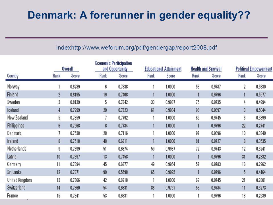 Anette Borchorst, FREIA, Aalborg University, Fibigerstraede 2, 9220 Aalborg East, Denmark Denmark: A forerunner in gender equality .