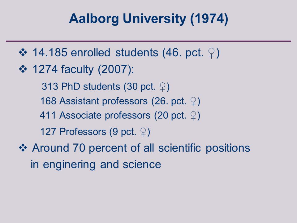 Anette Borchorst, FREIA, Aalborg University, Fibigerstraede 2, 9220 Aalborg East, Denmark  14.185 enrolled students (46.