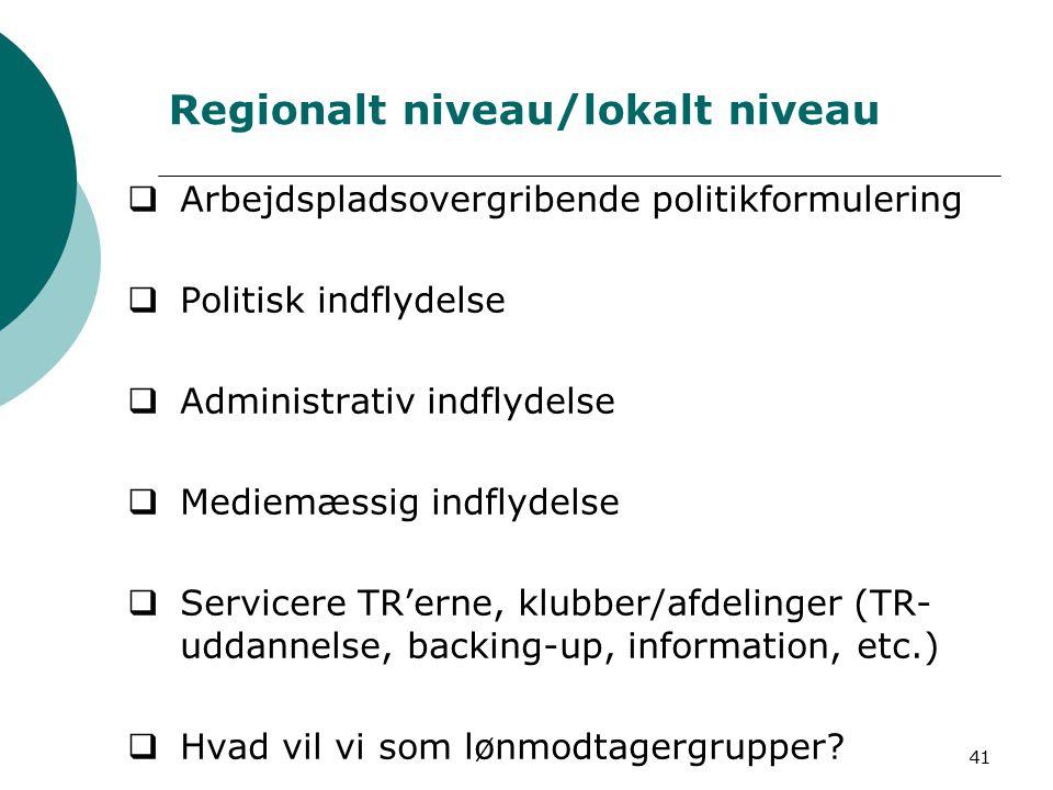 41 Regionalt niveau/lokalt niveau  Arbejdspladsovergribende politikformulering  Politisk indflydelse  Administrativ indflydelse  Mediemæssig indflydelse  Servicere TR'erne, klubber/afdelinger (TR- uddannelse, backing-up, information, etc.)  Hvad vil vi som lønmodtagergrupper