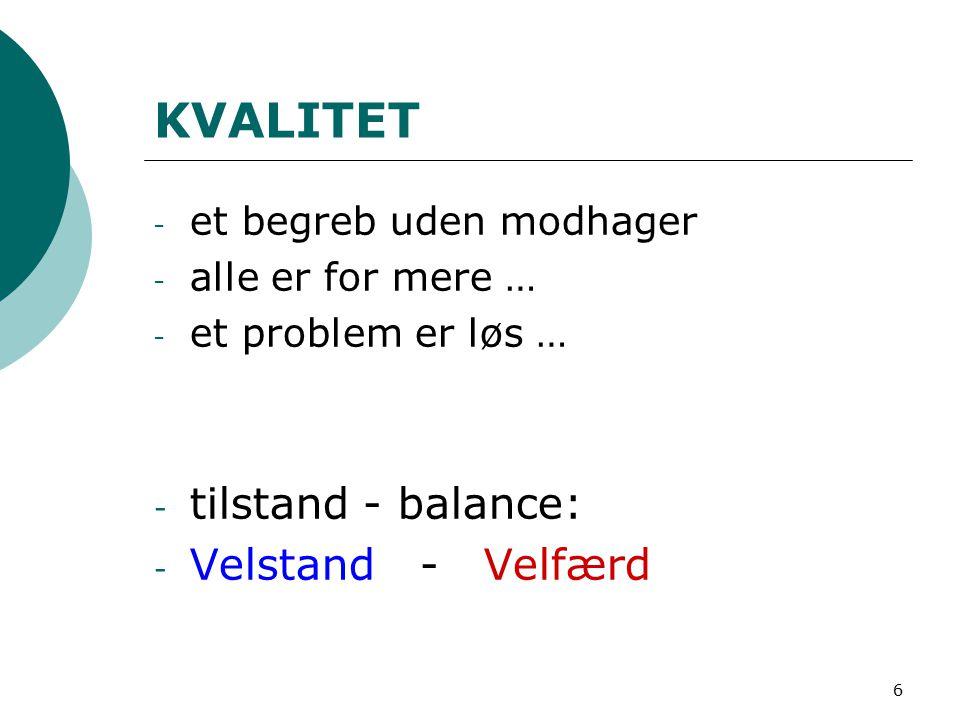 6 KVALITET - et begreb uden modhager - alle er for mere … - et problem er løs … - tilstand - balance: - Velstand - Velfærd