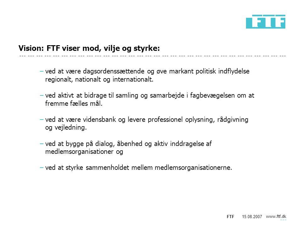 www.ftf.dk FTF15.08.2007 Vision: FTF viser mod, vilje og styrke: −ved at være dagsordenssættende og øve markant politisk indflydelse regionalt, nationalt og internationalt.