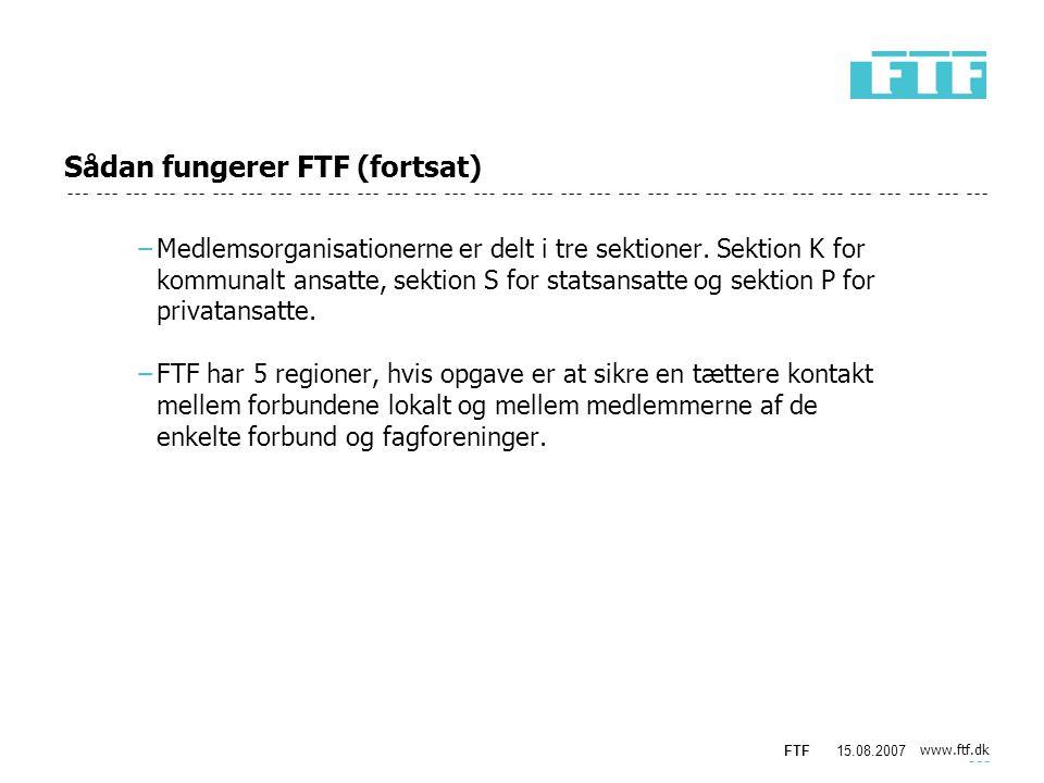 www.ftf.dk FTF15.08.2007 Sådan fungerer FTF (fortsat) −Medlemsorganisationerne er delt i tre sektioner.