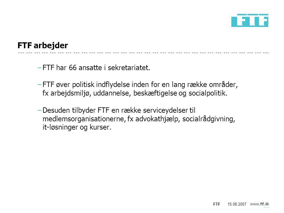 www.ftf.dk FTF15.08.2007 FTF arbejder −FTF har 66 ansatte i sekretariatet.
