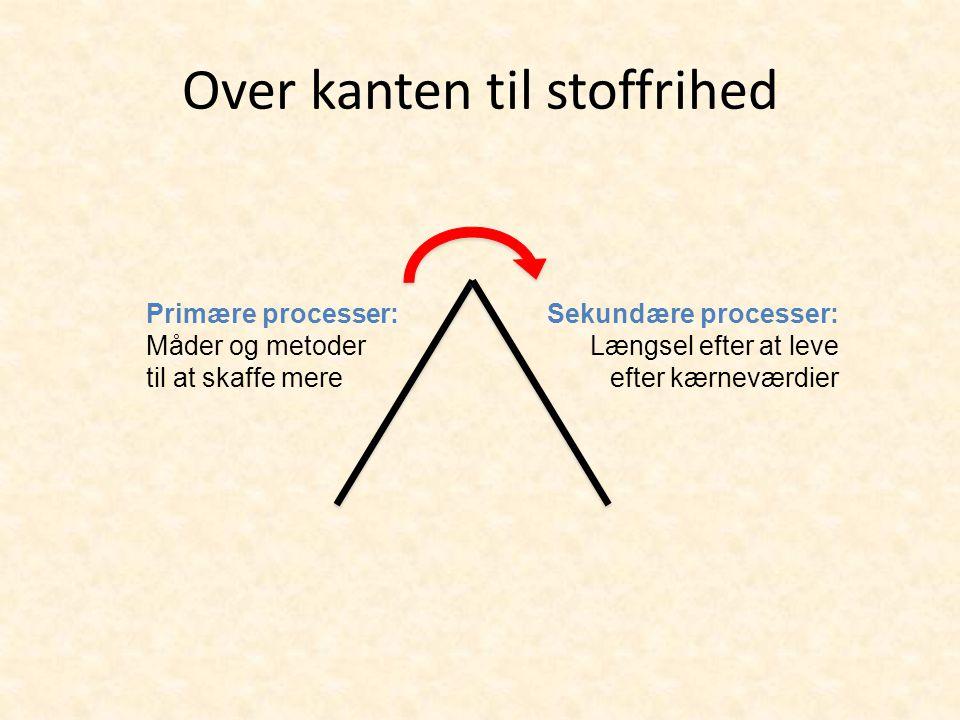 Over kanten til stoffrihed Primære processer: Måder og metoder til at skaffe mere Sekundære processer: Længsel efter at leve efter kærneværdier